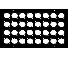 Face avant 180x260 pour 32 fiches XLR série D