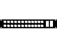 """Plaque 19"""" 2U pour 24 XLR série + 2 mini harting"""